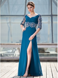 A-Line/Princess V-neck Floor-Length Chiffon Tulle Mother of the Bride Dress With Ruffle Beading Appliques Lace Split Front