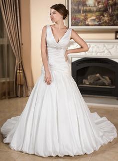 A-Line/Princess V-neck Chapel Train Taffeta Wedding Dress With Ruffle Beading