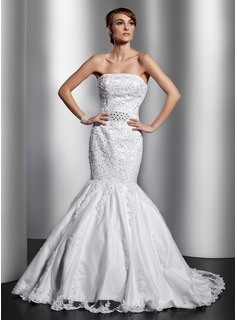 Trumpet/Mermaid Strapless Chapel Train Satin Tulle Wedding Dress With Lace Beading
