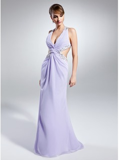 Sheath V-neck Floor-Length Chiffon Prom Dress With Ruffle Lace Beading Sequins