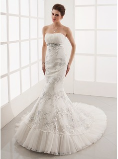 Mermaid Sweetheart Chapel Train Satin Tulle Wedding Dress With Ruffle Lace Beadwork (002001281)