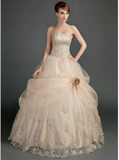Ball-Gown Strapless Floor-Length Organza Satin Wedding Dress With Ruffle Lace Beadwork Flower(s)
