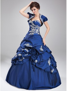Ball-Gown Sweetheart Floor-Length Taffeta Quinceanera Dress With Ruffle Lace Beading (021004677)