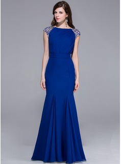 Mermaid Scoop Neck Floor-Length Chiffon Charmeuse Evening Dress With Beading