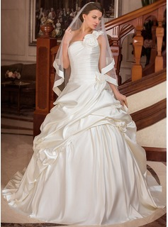 Ball-Gown One-Shoulder Court Train Satin Wedding Dress With Ruffle Flower