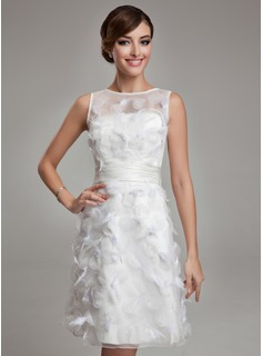 Sheath/Column Scoop Neck Knee-Length Organza Satin Wedding Dress With Feather