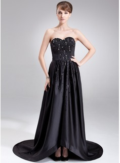 A-Line/Princess Sweetheart Court Train Satin Evening Dress With Beading Sequins