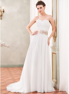 A-Line/Princess Sweetheart Court Train Chiffon Satin Wedding Dress With Ruffle Sash Beading Sequins
