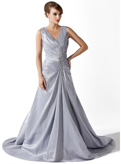 A-Line/Princess V-neck Court Train Taffeta Mother of the Bride Dress With Ruffle Lace Beading