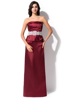 Sheath/Column Strapless Floor-Length Charmeuse Evening Dress With Ruffle Lace Beading Sequins