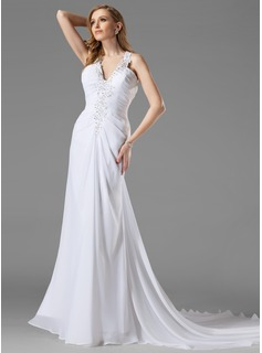 Sheath/Column Halter Court Train Chiffon Wedding Dress With Ruffle Beadwork