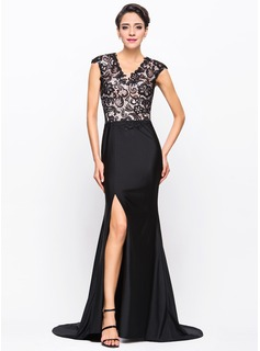 Trumpet/Mermaid V-neck Sweep Train Charmeuse Lace Jersey Evening Dress With Split Front