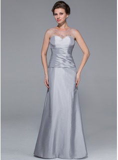 Mermaid Scoop Neck Floor-Length Taffeta Tulle Mother of the Bride Dress With Ruffle Beading