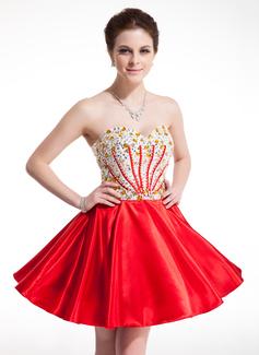 A-Line/Princess Sweetheart Short/Mini Charmeuse Homecoming Dress With Beading