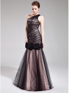 Mermaid One-Shoulder Floor-Length Tulle Charmeuse Evening Dress With Lace Flower(s) (017019558)