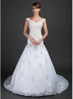 A-Line/Princess Off-the-Shoulder Chapel Train Satin Lace Wedding Dress With Beadwork Appliques