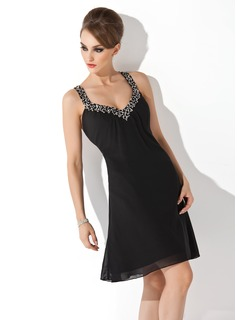 A-Line/Princess V-neck Knee-Length Chiffon Cocktail Dress With Ruffle Beading Sequins (016008898)