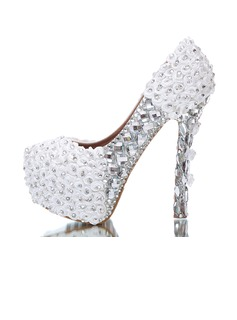 Women's Real Leather Stiletto Heel Closed Toe Platform Pumps With Rhinestone Satin Flower