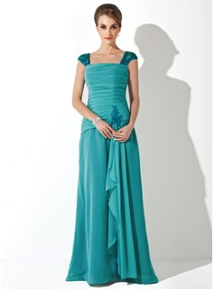 A-Line/Princess Square Neckline Floor-Length Chiffon Tulle Mother of the Bride Dress With Ruffle Lace Beading