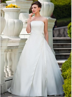 Ball-Gown Strapless Court Train Organza Satin Wedding Dress With Ruffle Beading Sequins