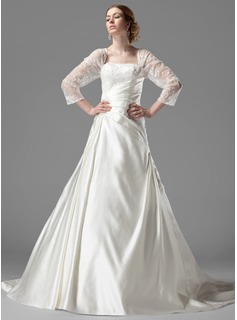A-Line/Princess Square Neckline Chapel Train Satin Tulle Wedding Dress With Ruffle Lace Beadwork (002000497)