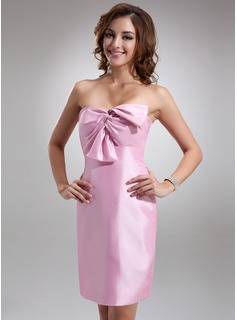 Sheath/Column Sweetheart Short/Mini Taffeta Bridesmaid Dress With Ruffle Bow