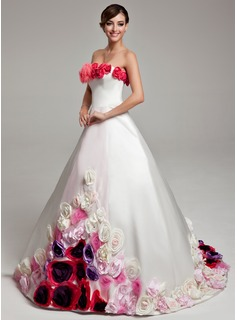 Ball-Gown Strapless Sweep Train Satin Quinceanera Dress With Flower(s)