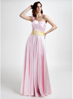 A-Line/Princess One-Shoulder Floor-Length Charmeuse Bridesmaid Dress With Ruffle Sash