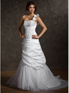 A-Line/Princess One-Shoulder Court Train Taffeta Organza Wedding Dress With Ruffle Beadwork Flower(s) Sequins (002011513)