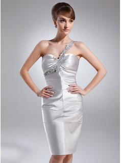 Sheath One-Shoulder Knee-Length Charmeuse Cocktail Dress With Ruffle Lace Beading