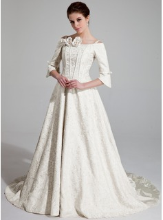 A-Line/Princess Off-the-Shoulder Chapel Train Charmeuse Wedding Dress With Ruffle Beadwork Flower(s) (002018951)