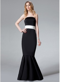 Mermaid Strapless Sweep Train Satin Bridesmaid Dress With Sash