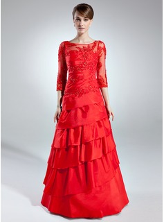 A-Line/Princess Scoop Neck Floor-Length Taffeta Tulle Mother of the Bride Dress With Lace Beading