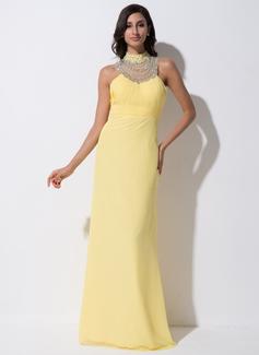 Sheath/Column High Neck Watteau Train Chiffon Tulle Evening Dress With Ruffle Beading Sequins Bow(s)