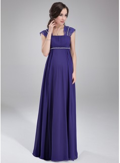Empire Square Neckline Floor-Length Chiffon Maternity Bridesmaid Dresses With Ruffle Lace Beading (045021003)