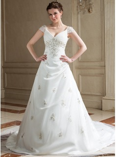A-Line/Princess V-neck Chapel Train Satin Tulle Wedding Dress With Embroidery Ruffle Beading