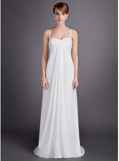 Empire Sweetheart Sweep Train Chiffon Wedding Dress With Ruffle Beadwork (002011591)