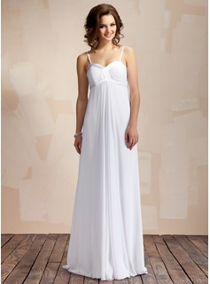 Empire Sweetheart Floor-Length Chiffon Charmeuse Wedding Dress With Ruffle (002011568)