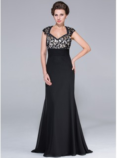 Empire Sweetheart Sweep Train Chiffon Charmeuse Mother of the Bride Dress With Beading
