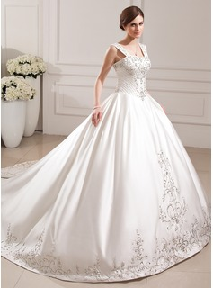 Ball-Gown Sweetheart Cathedral Train Satin Wedding Dress With Embroidery Beadwork Sequins