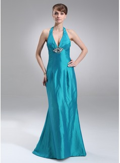 Mermaid Halter Sweep Train Taffeta Prom Dress With Ruffle Beading (018002493)