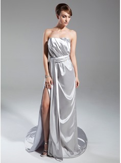 A-Line/Princess Strapless Court Train Charmeuse Mother of the Bride Dress With Ruffle Split Front
