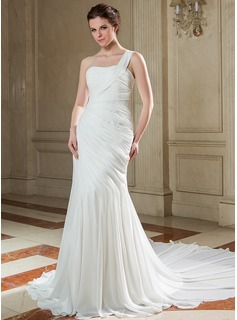 Mermaid One-Shoulder Chapel Train Chiffon Wedding Dress With Ruffle Beadwork Sequins