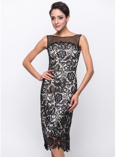 Sheath/Column Scoop Neck Knee-Length Tulle Charmeuse Lace Cocktail Dress