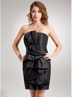 Sheath Strapless Short/Mini Taffeta Cocktail Dress With Ruffle