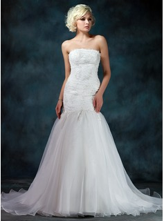Trumpet/Mermaid Strapless Chapel Train Organza Satin Wedding Dress With Lace Beading