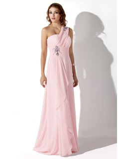 Empire One-Shoulder Sweep Train Chiffon Evening Dress With Beading Cascading Ruffles