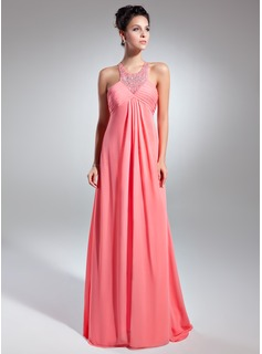 Empire Scoop Neck Sweep Train Chiffon Prom Dress With Ruffle Beading (018015081)