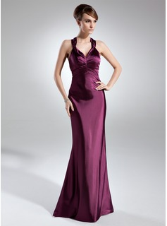 Sheath/Column Sweetheart Floor-Length Charmeuse Mother of the Bride Dress With Ruffle