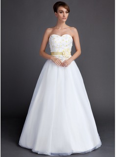 A-Line/Princess Sweetheart Floor-Length Taffeta Organza Wedding Dress With Sash Flower(s)